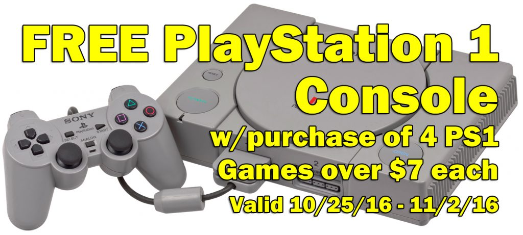 FREE PlayStation 1 Console with purchase of 4 games